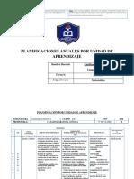 Planificación Por Unidad de Aprendizaje Taller de Matematica Octavo