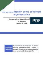4B y 5A -100000N01I La Generalización Como Estrategia Argumentativa (Diapositivas) 2019-Marzo