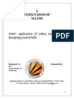 Application of Radus of Curvature for Desgning Road in Hill