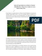Valoración Económica del Lago Sandoval, en la Reserva Nacional Tambopata por la Rehabilitación y Mejora de su Camino de Acceso, Madre de Dios, Perú
