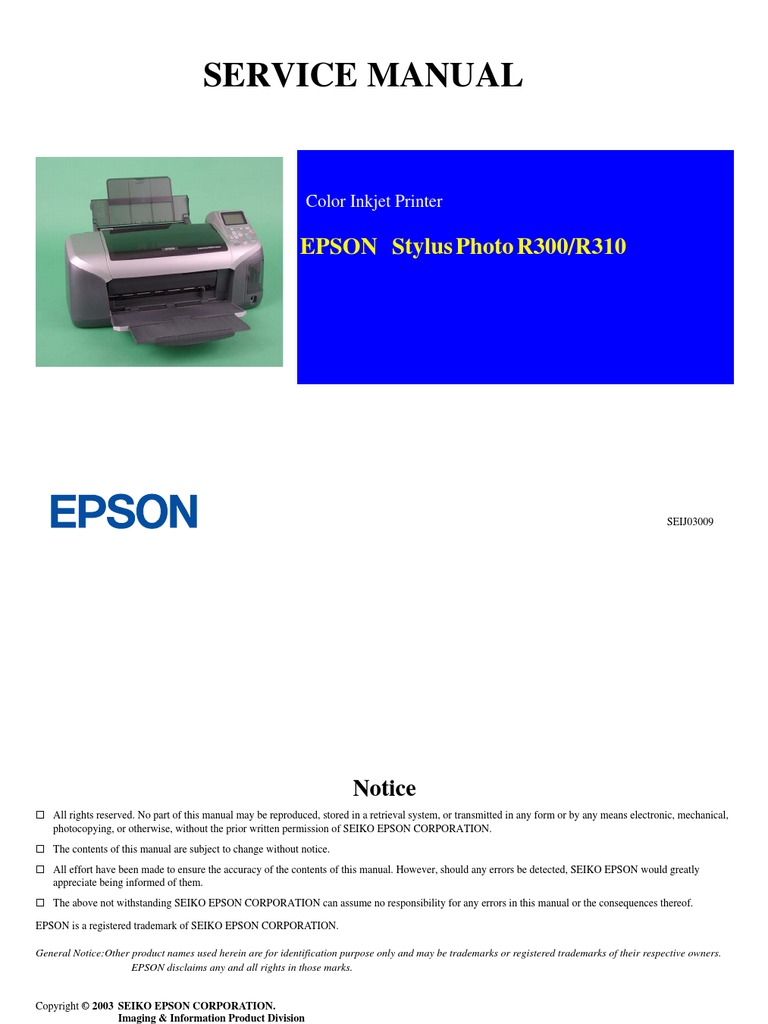 epson r300 r310 service manual complete printer computing rh scribd com epson stylus photo r300 user guide manual impresora epson stylus photo r300
