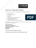Producer Lyceum Youth Theatre Application Pack 08