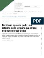 Benidorm Aprueba Pedir Una Reforma de La Ley Para Que El Trile Sea Considerado Delito