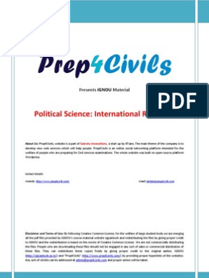 IGNOU Political Science Material - International Relations