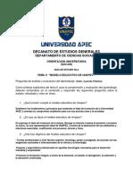 Guia 2, Tema II, Cuestionario Analitico Sobre El Modelo Educativo de Unapec