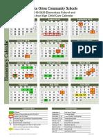 2019-20 elementary calendar