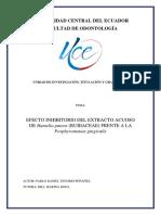 EFECTO INHIBITORIO DEL EXTRACTO ACUOSO DE Hamelia patens (RUBIACEAE) FRENTE A LA Porphyromonas gingivalis