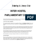 Rules - Inter Hostel Parliamentary Debate 2009