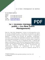 Le Nouveau Management Public