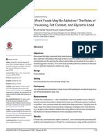 Alimentos Viciantes Papéis de Processamento, Teor de Gordura e Carga Glicêmica