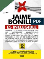 JAIME BONILLA ES INELEGIBLE (Pruebas y Documentos Que Lo Demuestran)