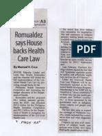 Manila Standard, Aug. 27, 2019, Romualdez says House backs Health Care Law.pdf