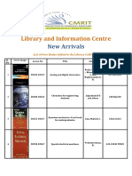 New Arrivals List -CMRIT Central Library August 2019