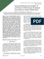 Haematotoxicity and Histotoxicity Studies of Ethanolic Leaves Extract of Piliostigma thonningii and Lophira lanceolata in Wistar Albino Rats