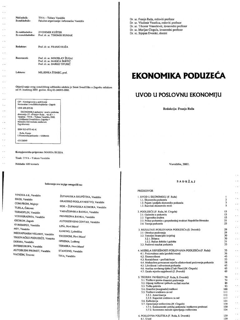 Ekonomika Poduzeca Uvod u Poslovnu Ekonomiju Franjo Ruza 2002