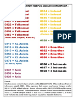 Daftar Kode Nomor Telepon Seluler Di Indonesia