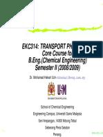 EKC314 Transport Phenomena