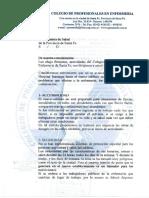 Nota del Colegio de Profesionales en Enferemería al ministerio de Salud