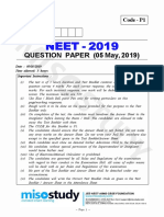 NEET 2019 Question Paper Code P1 by Govt