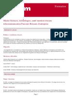 Master Sciences Technologies Sante Mention Reseaux Telecommunication Parcours Reseaux d Entreprise
