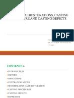Cast Metal Restorations, Casting Procedure and Casting