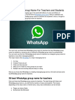 50+ WhatsApp Group Name For Teachers and Students