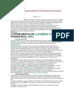 Diagnóstico Situacional de La Vivienda en La Ciudad de Huacho