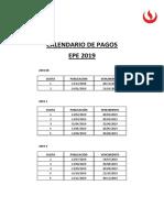 Calendario de Pagos 2019 Epe