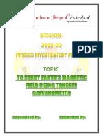 investigatory project tangent galvanometer