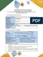 Guía de actividades y rúbrica de evaluación - Fase 1- Actividad Introductoria