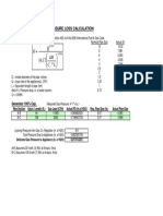 Low Pressure Gas Piping Pressure Loss Calculation