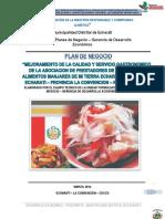 plan de negocio de produccion y comercializacion de platos tipico de la zona