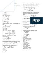 Tabela de correlações termodinâmicas