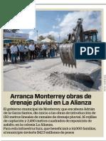 22-08-19 Arranca Monterrey obras de drenaje pluvial en La Alianza