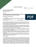 Updation of Trading Authorisation