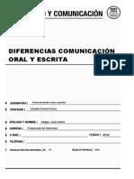 Diferencia Comunicación Oral y Escrita