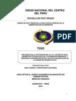 TESIS INFLUENCIA DE LA APLICACIÓN DEL D.S. N° 150-2007-EF EN EL MARGEN DE UTILIDAD NETA DE LAS EMPRESAS MEDIANOS Y PEQUEÑOS CONTRIBUYENTES DEL SECTOR CONSTRUCCION DE LA CIUDAD DE HUANCAYO 2013.pdf