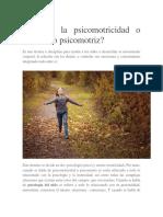 Qué Es La Psicomotricidad o Desarrollo Psicomotriz