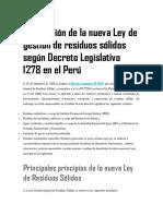 Publicación de La Nueva Ley de Gestión de Residuos Sólidos Según Decreto Legislativo 1278 en El Perú