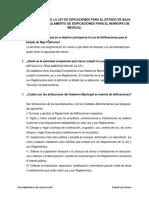 Cuestionario Ley de Edificaciones y Reglamento