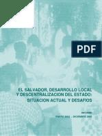 """parte 1.  """"El Salvador, Desarrollo Local y Descentralización del Estado"""""""