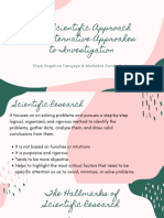 The Scientific Approach and Alternative Approahes to Investigation