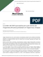 La Orden Del INM Que Explica Por Qué Cientos de Migrantes Africanos Protestan en Tapachula, Chiapas Observatorio de Legislación Y Política Migratoria