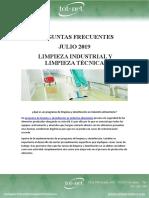 Preguntas Frecuentes Julio 2019 Limpieza Industrial y Limpieza Técnica