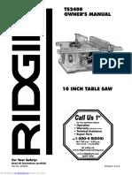 Ts2400 Table Saw Manual