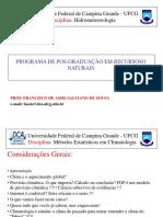 1 - Métodos Estatísticos Para Hidrometeorologia -2019
