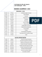 Calendário Uerj 2019
