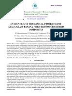 Evaluation of Mechanical Properties Ofabacaglassbanana Fiber Reinforced Hybridcomposites