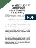 SINISI La Relacion Nosotros-otros en Espacios Escolares Multiculturales.
