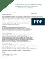 Letter regarding St. Anthony's principal